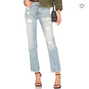 NWT GRLFRND Helena High-Rise Straight Crop Jeans
